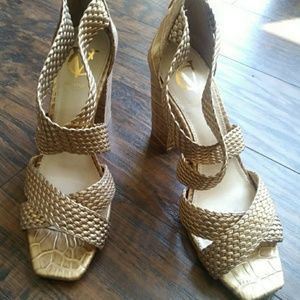 Vince Camuto Signature Gold Heels
